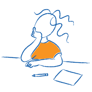 Sketch of child with head resting on hand and unused pencil and paper on desk