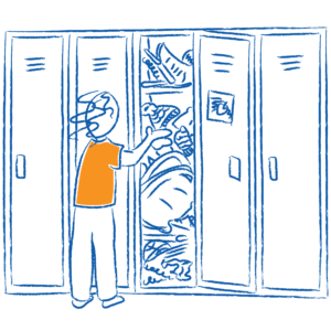 Sketch of child searching through messy locker