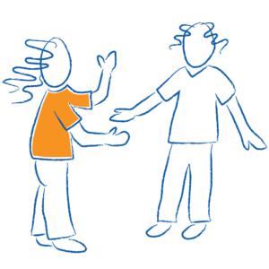 Sketch of two children in conversation