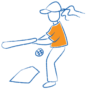 Sketch of child swinging and missing in baseball