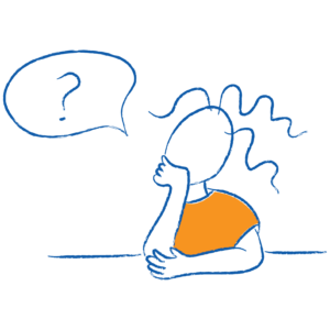 Sketch of child with question mark above their head